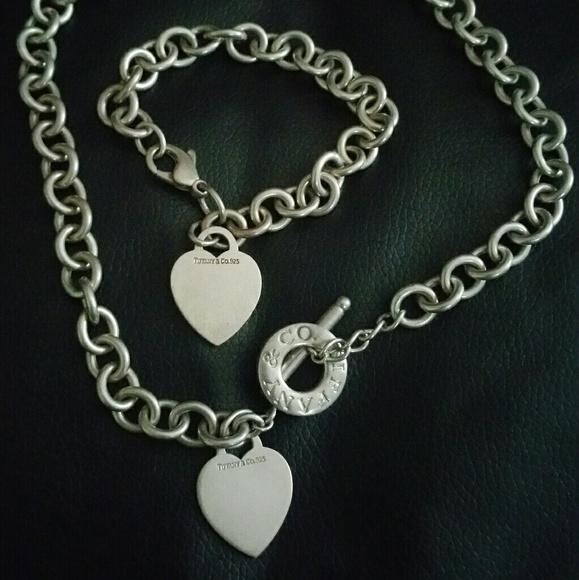 165dcdb11 Tiffany & Co. Jewelry | Tiffany Co 925 Heart Bracelet Necklace Set ...